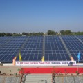 Solar panels covering Vadodara canal conserve land, water and emit no greenhouse gases (Image by Keya Acharya)