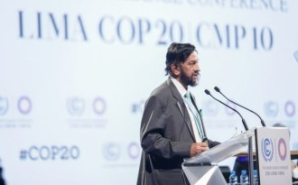 Rajendra Kumar Pachauri steps down as chair of IPCC following a sexual harassment charge against him. (Image by   COP20)