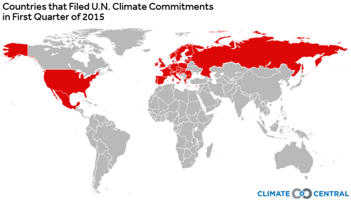 The countries that have submitted their INDCs in the first quarter of 2015 (Image by Climate Central)