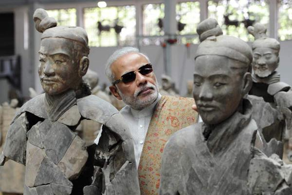During his recent trip to China Modi visited Xian, the eastern terminus of the old Silk Road invoking the powerful cultural links between the two countries  (Image by Twitter)
