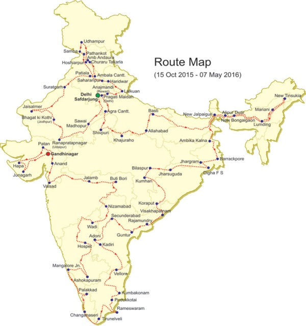 Route map of Science Express-CLimate Action Special