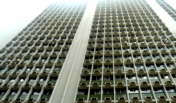 Air conditioners like those used in this tower block use highly potent greenhouse gases known as HFCs (Image by Pēteris)