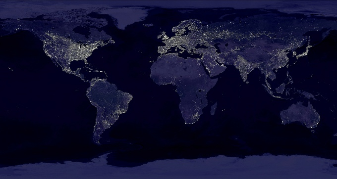 A composite of hundreds of images created using satellite data collected at night. CO2 emissions are likely to stall this year as demand for electric power in countries such as China slows and more low-carbon energy is added to grids. (Image by NASA)