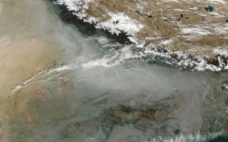 The blanket of pollutants over South Asia, as seen from the International Space Station (Image by International Space Station)