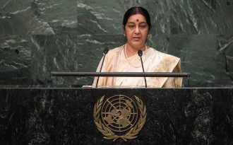 India's external affairs minister Sushma Swaraj at the UN General Assembly in October 2015 where she held high-level meetings with CELAC and CARICOM officials. (Image by United Nations photo)