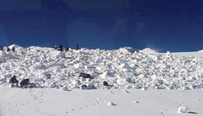Specialized teams of the army and the Indian Air Force search for bodies of the 10 soldiers in Siachen on Thursday. Photo: PTI