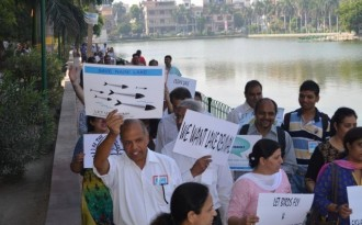 Residents of Model Town rally to save Naini Lake (Image by Save Naini Lake FB account)