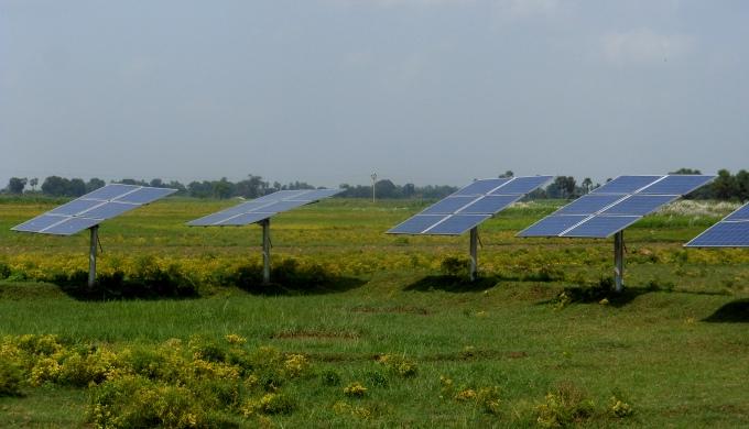 Solar panels in a field in Bihar (Image by IFPRI South Asia)