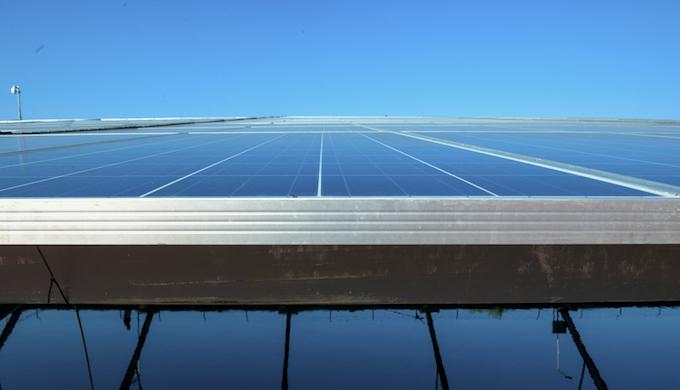 The Canal Top Solar Power Plant in Gujarat, India. (Photo by Mark Garten) Visit to 10 MW Canal Top Solar Power Plant (Vadodara branch canal, Sama Savali Road [near Ambe Vidyalaya] in Vadodara