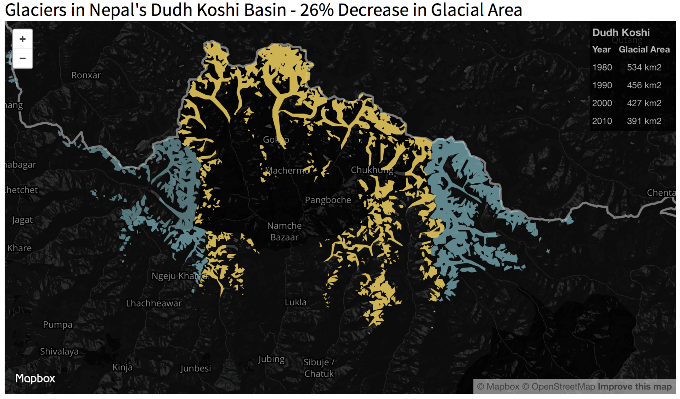From 1980 to 2010, the Dudh Koshi has lost over 140 square kilometres of glacier area. Click the image to explore the animated visualisation.