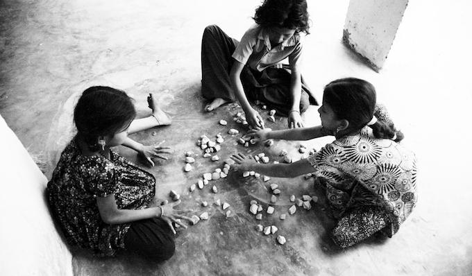Girls at play in Rupwaliya village in Pashchim Champaran district of Bihar during the flash floods in 2014.