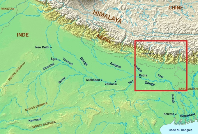 Area in red marks the Kosi river basin [image by CC BY-SA 3.0 / Wikipedia]