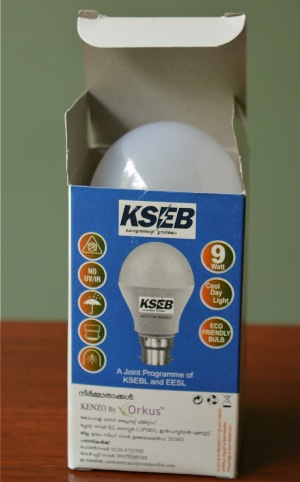 After the success in Puducherry, state electricity boards across the country have been supplying a limited number of subsidised LED bulbs to customers. This bulb was supplied by Kerala State Electricity Board. (Photo by S. Gopikrishna Warrier)