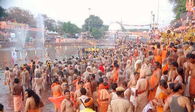 Sadhus at the Ram Ghat for the ritual holy dip.