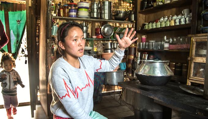 Hishey Lachenpa in her tea shop.