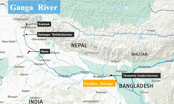 Dolphins, crocodiles and fish are under threat along the Ganga. (Map by Beth Walker)