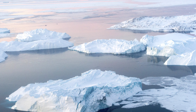 Melting icebergs in Greenland. (Photo by Mark Garten)