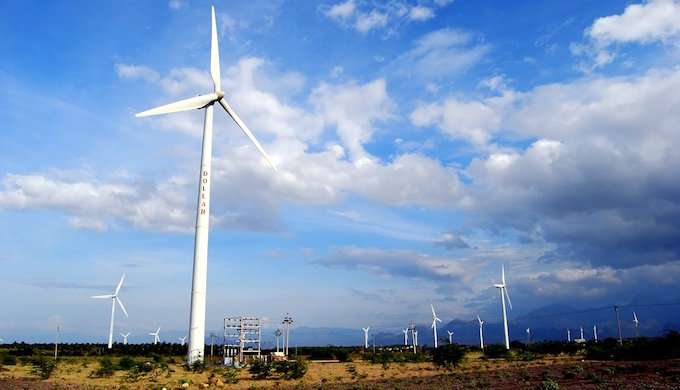 Windmills in Pollachi, Tamil Nadu. (Photo by Dhruvaraj S.)