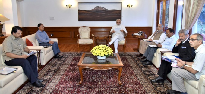 Prime Minister Narendra Modi chairing the meeting on Indus Water Treaty in New Delhi (Image by Press Information Bureau, Government of India)