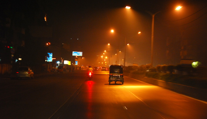 A pall of smoke hangs over Delhi on Diwali evening. (Photo by Michael Kohli)