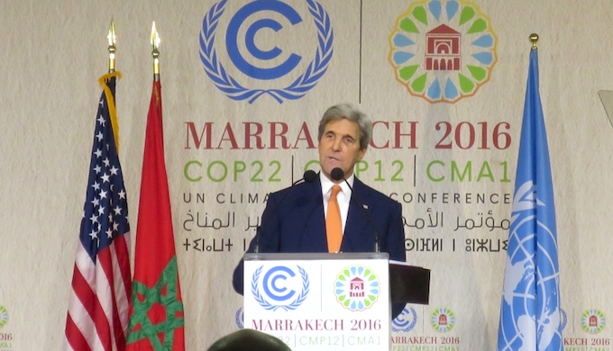 US Secretary of State John Kerry at the Marrakech Climate Summit. (Photo by US Government)