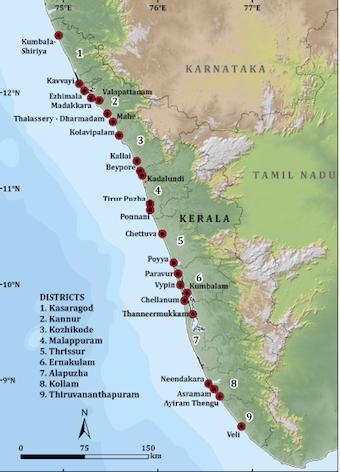 Distribution of mangroves in Kerala. (Source: Kerala State Biodiversity Board)
