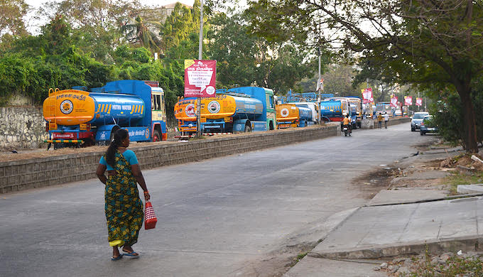 The queue of trucks at a water filling station in Chennai is going to grow in the coming months. (Photo by S. Gopikrishna Warrier)