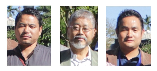 Two anti-dam activists flanked by a dam supporter, from left to right: Vijay Taram, Tomi Ete, and David Gao (Image by Chandan Kumar Duarah)
