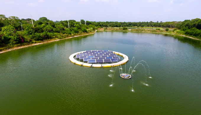 The floating solar power plant at Dhanas lake in Chandigarh. (Photo by Yellow)