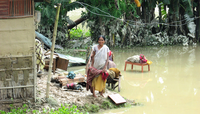 This year's floods in northeast India has rendered more than half a million people homeless. (Photo by Oxfam)