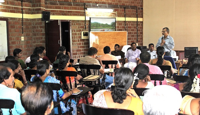 Elected panchayat representatives being trained at Kerala Institute of Local Administration on climate change (Photo by KILA)