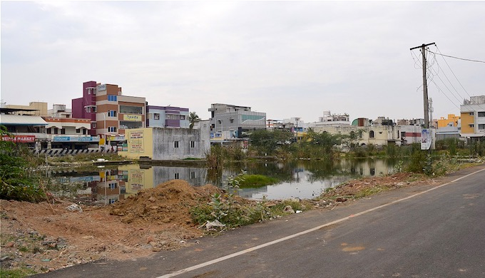 Since Velachery, a newly developed area in Chennai, is constructed over a wetland, there's waterlogging even with mild rains (Photo by S. Gopikrishna Warrier)