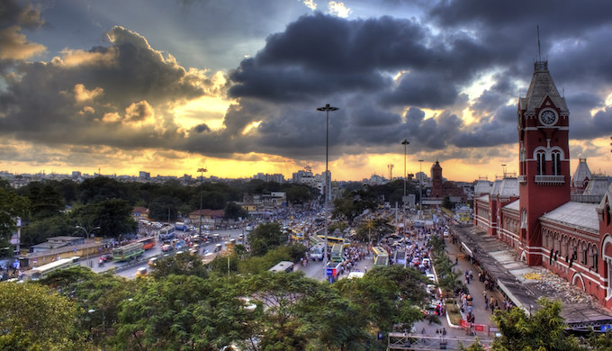 Storm clouds over Chennai Central railway station (Photo by Mithun James)