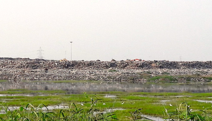 One of the two municipal solid waste dumps for Chennai is located within the Pallikaranai marsh in Perungudi (Photo by S. Gopikrishna Warrier)