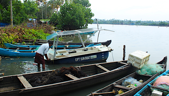 The solar-powered boat designed by Central Institute of Fisheries Technology is suited for inland fisheries (Photo by Sharada Balasubramanian)