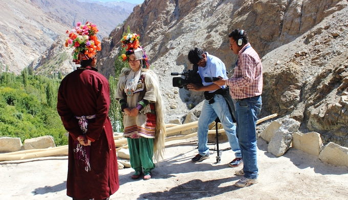 An environmental film being shot in the highlands of Ladakh (Photo by CMS Vatavaran)