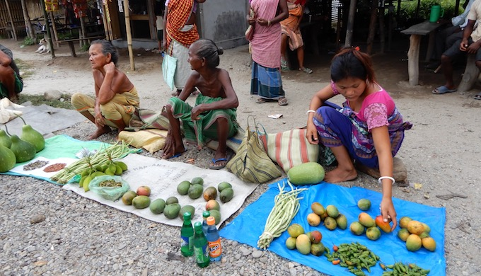 An Adivasi (indigenous peoples) bazaar near Saralpara