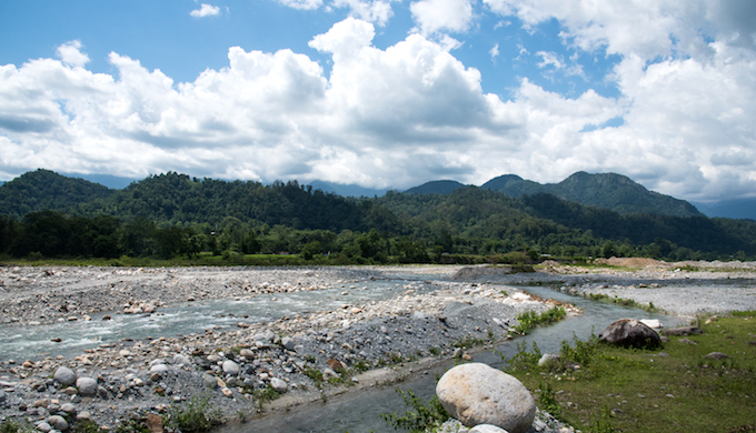 The Saralbhanga River (also called Swrmanga) that flows from Sarphang district of Bhutan to Assam in India.