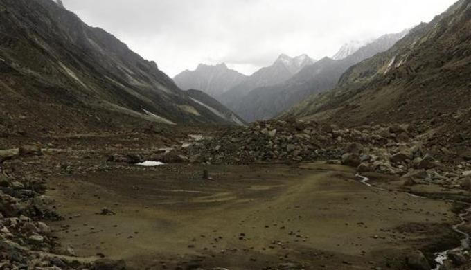 Remnant of an old glacier lake formed by the receding of the Gangotri Glacier in India. The mouth of the glacier was around this area in 1971. (Photo by Greenpeace / Peter Caton)
