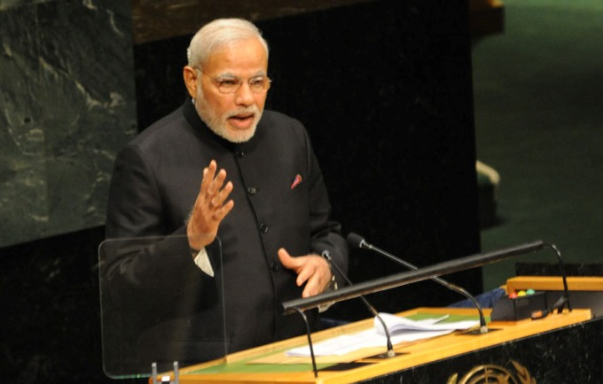 Prime Minister Narendra Modi asked the world leaders to adopt an International Yoga day to fight climate change, during his address to the UN General Assembly on Saturday. (Image by Press Information Bureaur, Government of India)
