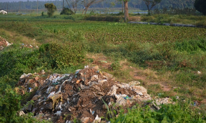 Plastic waste dumped in the edge of a Kole wetland paddy field in Kerala's Thrissur district (Image by S. Gopikrishna Warrier)