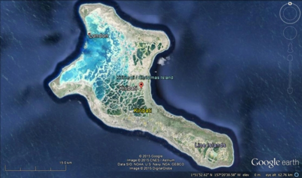 Satellite map of Kiribati taken from Google Earth