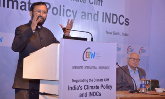 Prakash Javadekar, India's Minister for Environment, Forests and Climate Change, speaks at a recent New Delhi conference on INDC (Image by Council on Energy, Environment and Water)