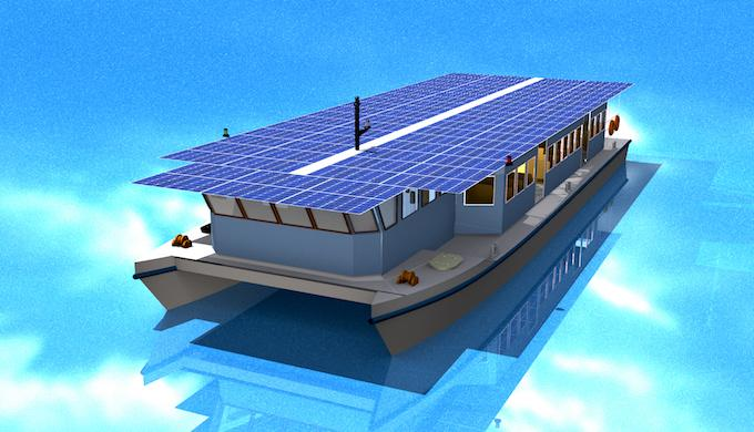 A model of the solar ferry to be launched in Kerala