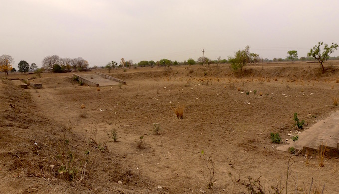 The pond near Galha village in Banda district lost all its water two years ago and even watering the animals have since proved to be a challenge to the local peasantry.