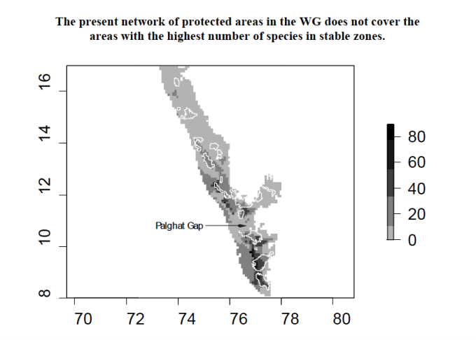 The present network of protected areas in the Western Ghats does not cover the areas with the highest number of species in stable zones. (Map by Institut Français de Pondichéry )