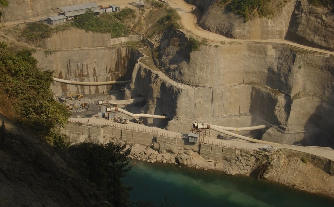 Construction site of the 2,000 MW Lower Subansiri Hydro Power Project, being built at Gerukamukh in Arunachal Pradesh [image by Amarjyoti Borah]