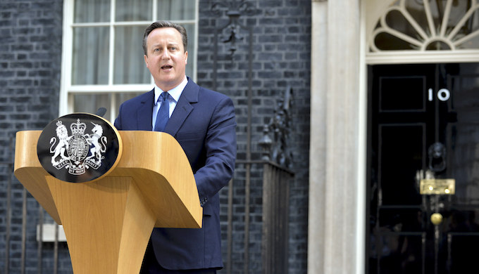 UK Prime Minister David Cameron gave a speech announcing that Britain had voted to leave the European Union. (Image by UK Government)