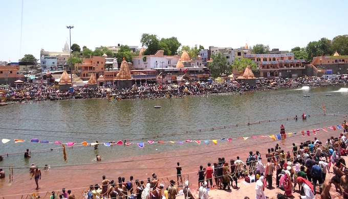 The ghats of the Shipra were fit to bursting during the Kumbh Mela.