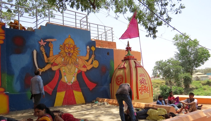 The Narsingh Ghat in Ujjain sports a fresh mural during the pitcher festival.